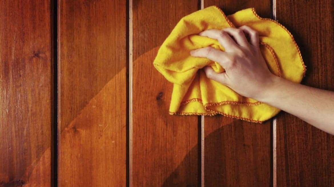How do you sanitize wood cabinets?